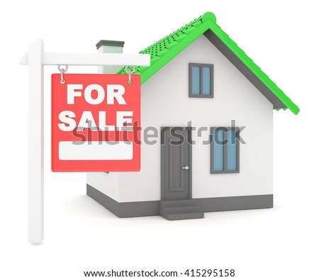 Miniature model of house real estate for sale on white background. 3D rendering. - stock photo