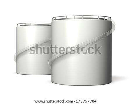 Miniature model of oil tank ,isolated, computer generated image, - stock photo