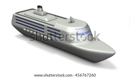 Miniature model of the large cruise ships. 3D illustration - stock photo