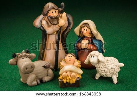 Miniature Models Christmas Crib Nativity Scene Photo - stock photo