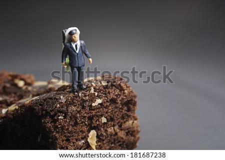 Miniature mountain climber - stock photo