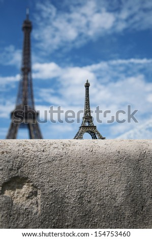 miniature of Eiffel tower in Paris  - stock photo