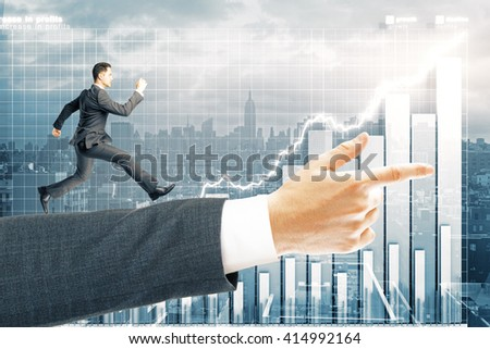 Miniature of man running on arm pointing forward with business chart in the background. 3D Rendering