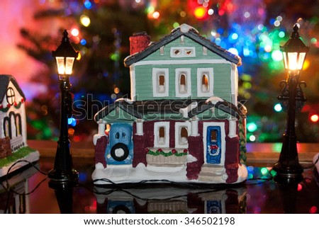 Miniature Painted Christmas House Street Scene