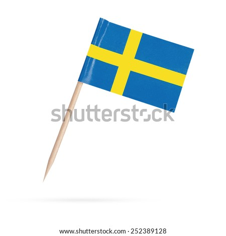 Miniature paper flag Sweden. Swedish Flag Isolated on white background. With shadow below - stock photo