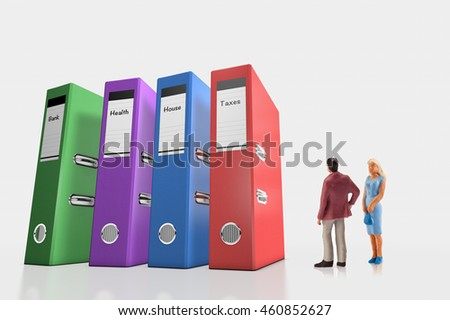 miniature people  - a couple standing near of their invoices folders