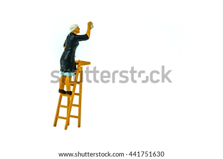 Miniature people office, worker, engineer worker, construction, cook, chief kitchen and traveler concept in variety action on white background with space for text