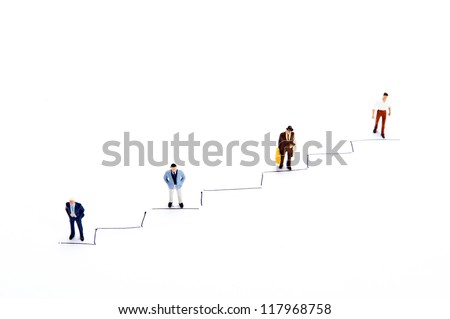 Miniature people on white background