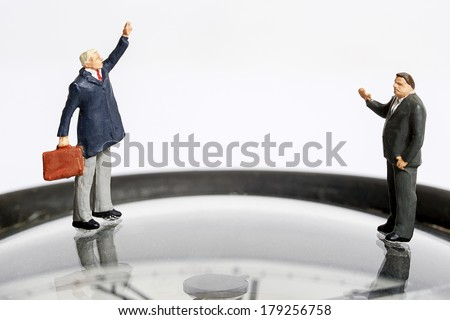 Miniature peoples say hi - stock photo