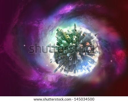 Miniature planet on galaxy - stock photo