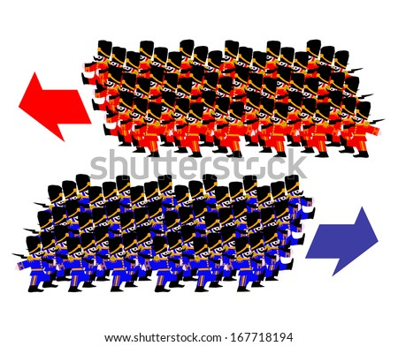 Miniature Red Blue Coat Soldiers Marching Stock Illustration ...