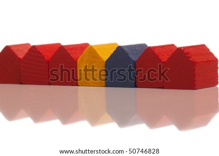 Miniature row houses on white isolated background
