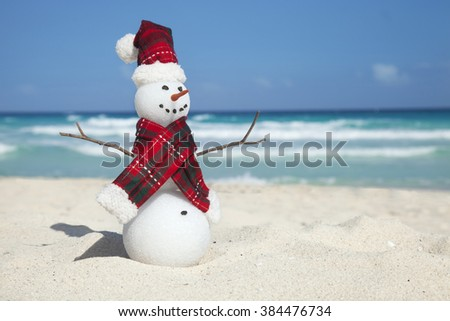 Miniature snowman wearing hat and scarf on the beach with the blue caribbean behind
