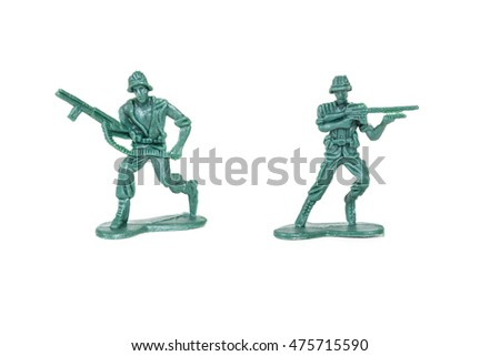 miniature  soldiers toy  on white background