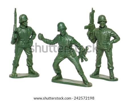 miniature toy soldiers on white background - stock photo