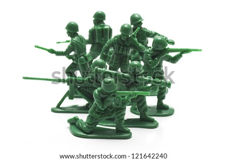 miniature toy soldiers to attack the enemy - stock photo