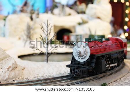 Miniature train in Santa's village - stock photo