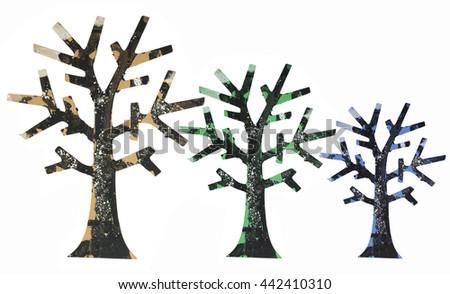 Miniature Tree Ornaments on White Background - stock photo