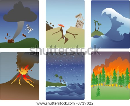 miniature vector illustrations of various natural disasters-tornado, earthquake, tsunami, volcano, hurricane, forest fire - stock photo