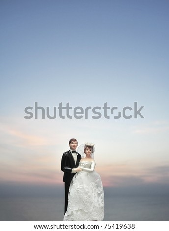 miniature wedding doll on clear sky background - stock photo