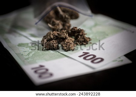 Minigrip, marijuana and two hundred euro notes   - stock photo