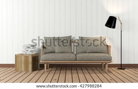 designed living room. Minimal and loft designed living room interior with sofa  side table floor lamp in Loft Design Living Room Interior Stock Illustration
