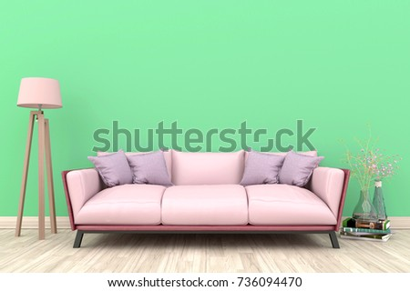 Green Living Room Interior With Pink Fabric Sofa Lamp Cabinet And Plants