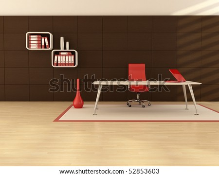 minimal office space with modern desk in front a dark wooden paneling - stock photo