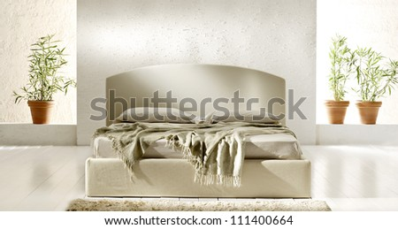 minimal style bedroom - stock photo