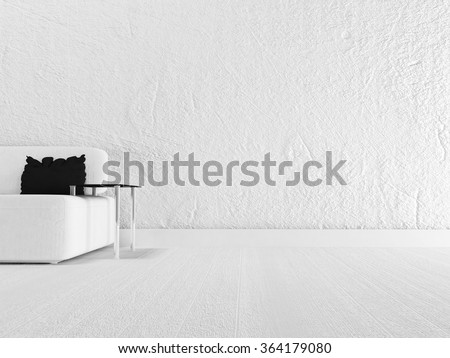 minimalism, black pillow, white and black, 3d rendering - stock photo