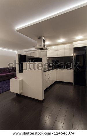Minimalist apartment - black and white modern kitchen - stock photo