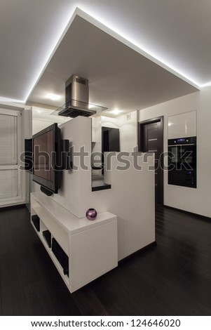 Minimalist apartment - interior of a small but cosy house - stock photo