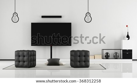 Minimalist black and white lounge with tv set,sideboard and hassock-3D Rendering - stock photo