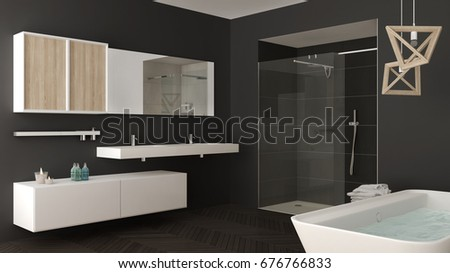 Minimalist bright bathroom with double sink, shower and bathtub, gray interior design, 3d illustration