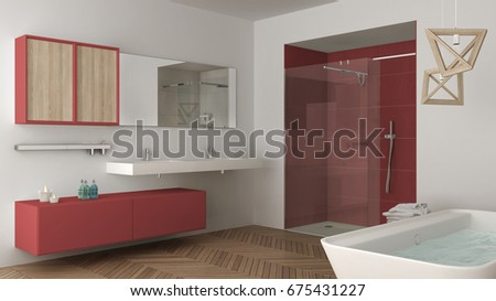 Minimalist bright bathroom with double sink, shower and bathtub, white and red interior design, 3d illustration