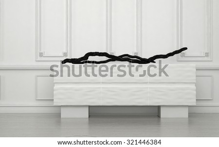 Minimalist contemporary artwork lying on a white box cabinet against a panelled wall with wainscoting in a classic white room interior in a house. 3d Rendering. - stock photo