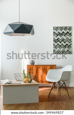 Minimalist creative room for young trendy person