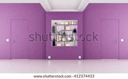 Minimalist empty room with doors flush with the wall - 3d rendering