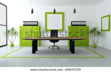 minimalist green and black office space - rendering - stock photo