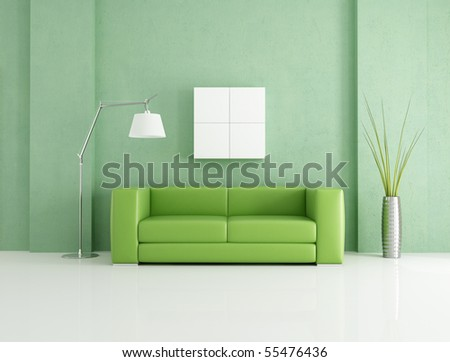 minimalist green and white lounge - rendering