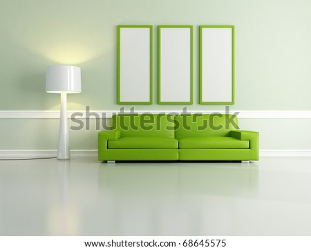 Minimalist Green Living Room With Empty Frame And Floor Lamp