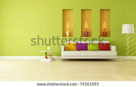 minimalist green living room with three niche -rendering - stock photo