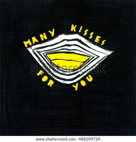 Minimalist illustration with lips in black and yellow. Announcement / poster / flyer / greeting card in a mixed media graphic.