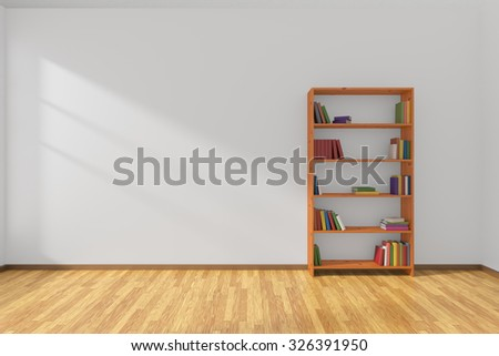 Minimalist interior of empty white room with parquet floor and the bookcase with many colored books stood at the wall illuminated by sunlight from the window, 3D illustration - stock photo