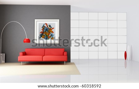 minimalist interior with red couch and big windows - rendering - the art picture on wall is a my rendering composition - stock photo