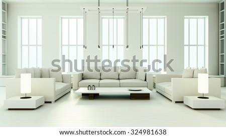 Minimalist Living Room - 3D render image - stock photo