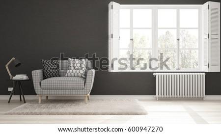Minimalist Living Room Simple White And Gray With Big Window Scandinavian Classic Interior