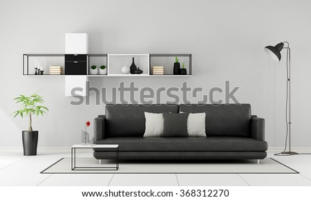 Minimalist living room with black sofa and sideboard on wall - 3D Rendering - stock photo