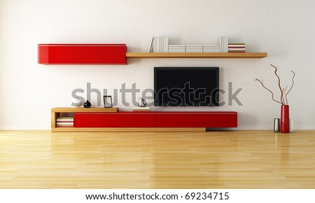 minimalist living room with cabinet shelves and lcd tv