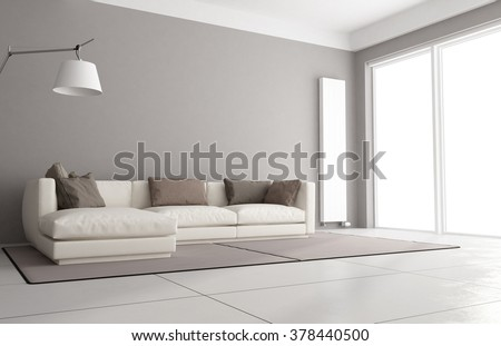 Minimalist living room with elegant sofa, floor lamp and large window - 3D Rendering - stock photo